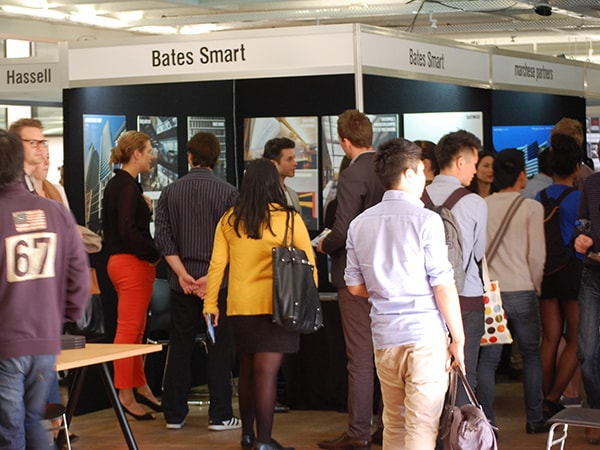 Students and employers attend the architecture careers fair