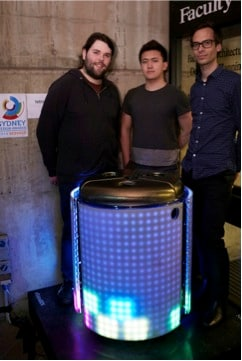 L-R: Sam Johnson, Steven Bai and Dr Martin Tomitsch with their award-winning TetraBIN. Photo Suzannah Wimberley.