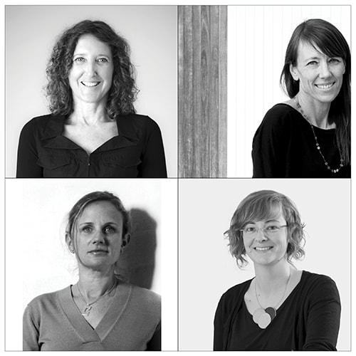 The panel participants; top row from left to right: Sydney architects Stephanie Smith (Lend Lease) and Rachel Neeson (Neeson Murcutt Architects); bottom row from left to right: Camilla Block (Durbach Block Jaggers) and Imogen Howe (Allen Jack+Cottier).