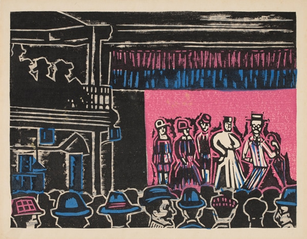 Depiction of people on stage at a casino and a crowd watching them, titled 'Casino follies' by Sumio Kawakami.