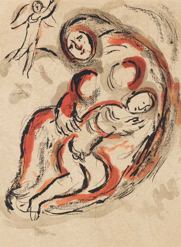Painting of Hagar and Ishmael, a mother and son embracing in the desert, while an angle overlooks them.