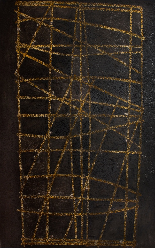 An oil painting of gold lines against a black background, untitled, by Daniel Boyd.