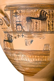 Geometric Attic krater depicting horses, people and geometric patterns.
