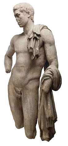 A marble sculpture of Hermes, with broken nose and limbs