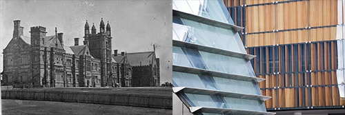 Black and white image of the old Quadrangle juxtaposed with colour image of the New Law School building