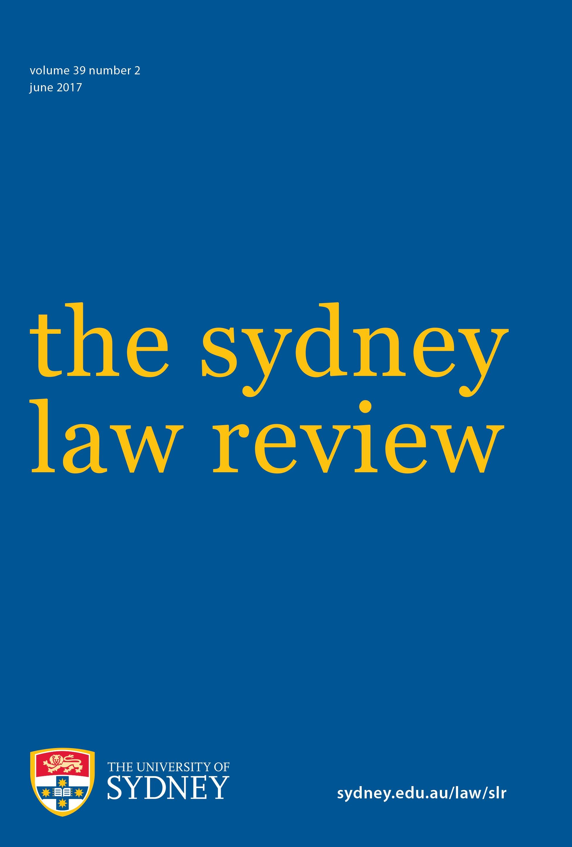 Sydney Law Review The University Of Sydney Law School