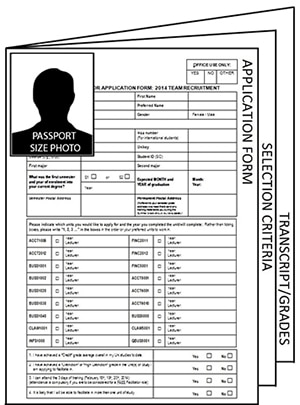 Passport photo attached to the front. Then your application form, selection criteria and your transcript last.
