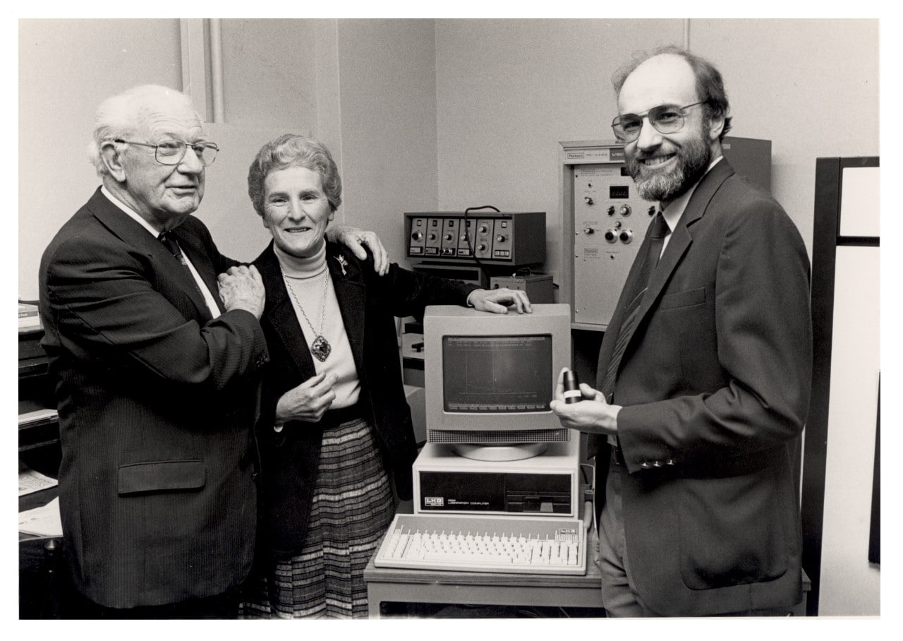 Mrs Ann Macintosh with Chancellor Sir Hermann Black and Dr Mike Barbetti at the opening of the NWG Macintosh Centre for Quaternary Dating in 1984.