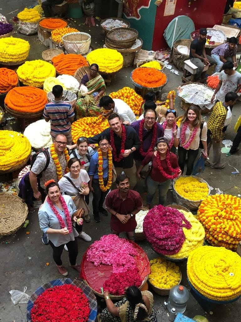 MBA students in a market in India