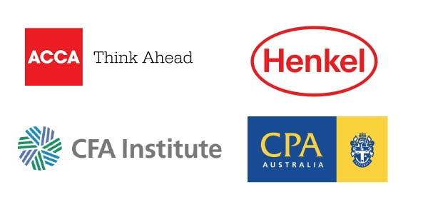 Logos for ACCA, AMI, Henkel, Westpac Group, CFA Institute and CPA Australia