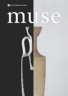 Cover of MUSE magazine issue 24, October 2019, featuring a cut-away CT slice of a white-ground lekythos.