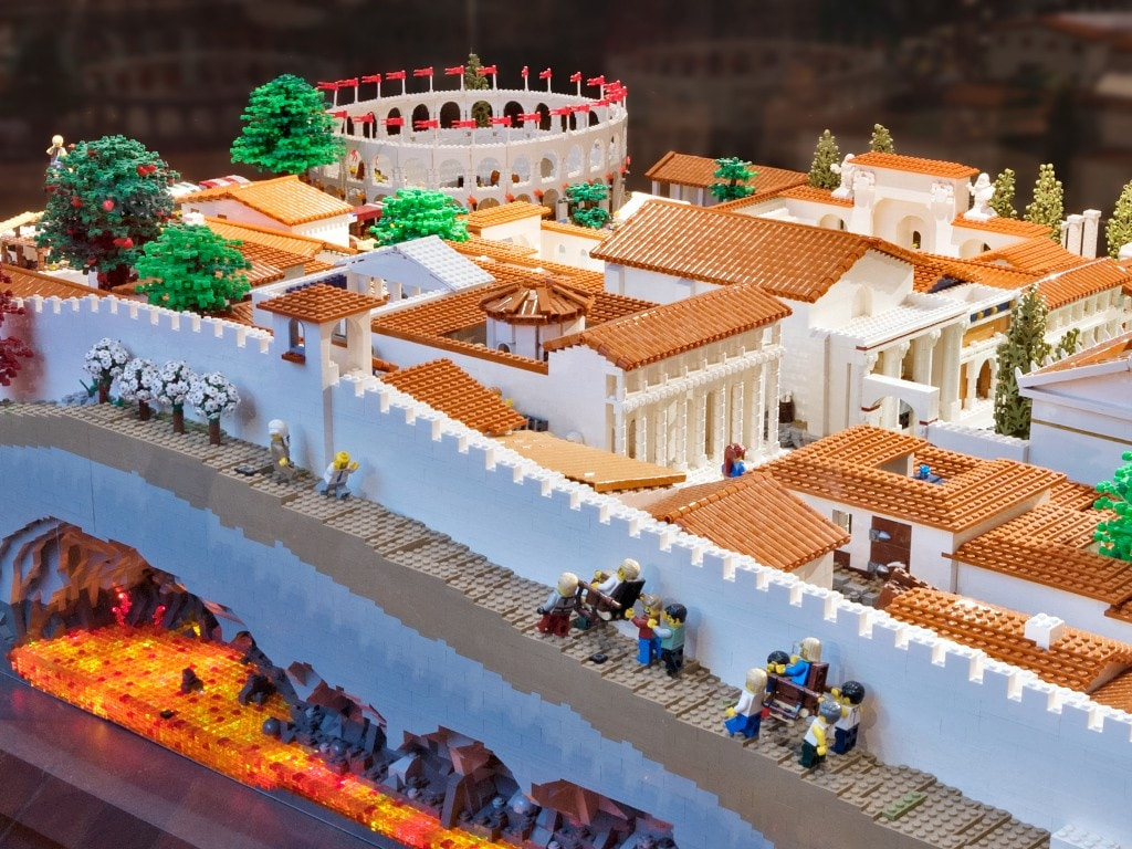 A depiction of Pompeii built using LEGO