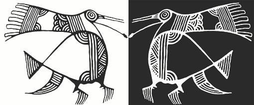 Black and white Cypriot artwork of two birds