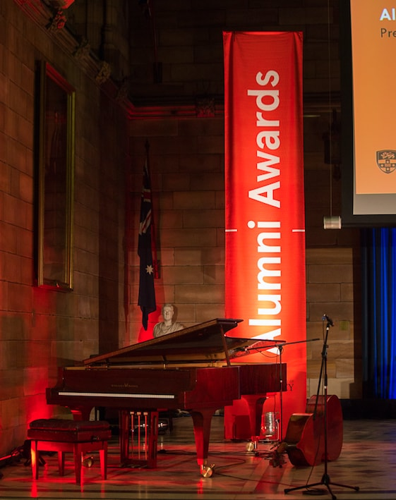 Alumni Awards stage with grand piano