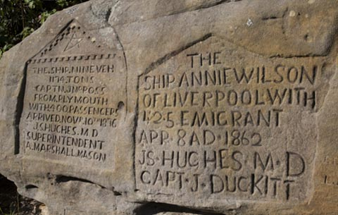 Close up of inscriptions in the sandstone