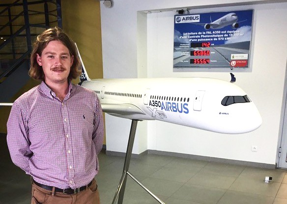 Bachelor of Engineering Honours student William Hughes at Airbus Toulouse