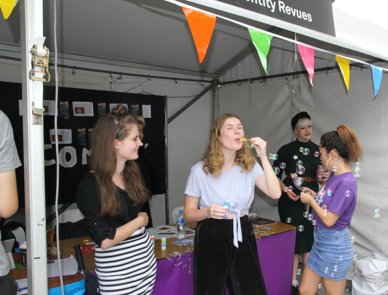 Female students at clubs and societies on Open Day