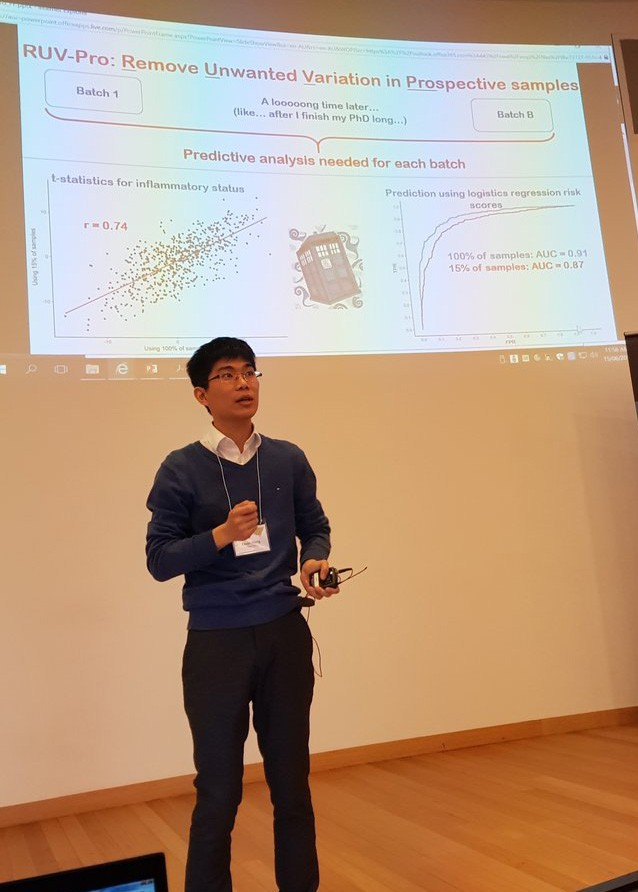 Kevin Wang presenting his research at a conference