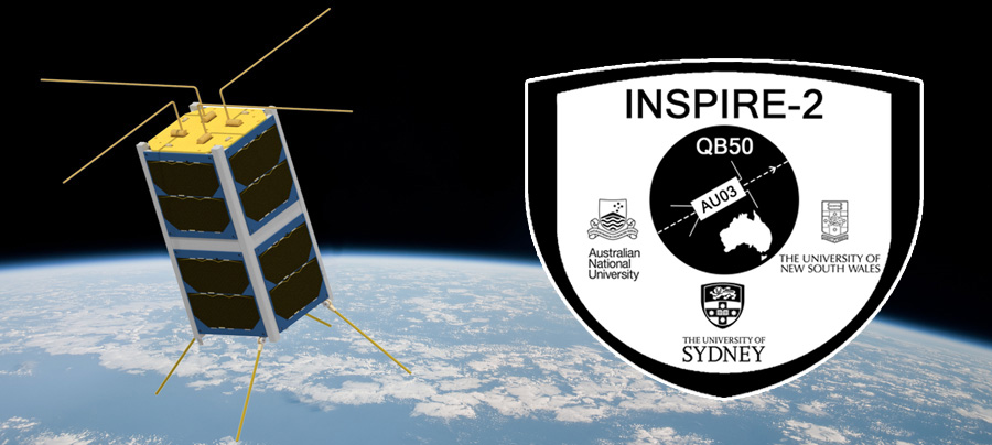 Artist's impression of AU03 INSPIRE-2 deployed in orbit with INSPIRE-2 logo