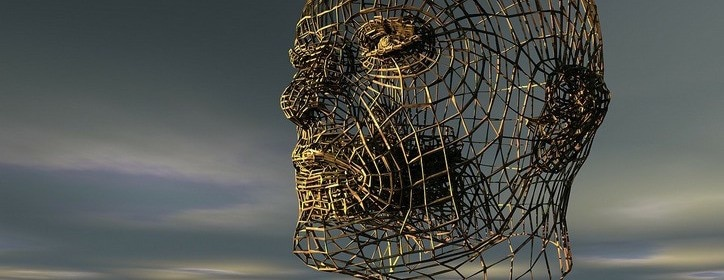 Large metal frame structure of a human head