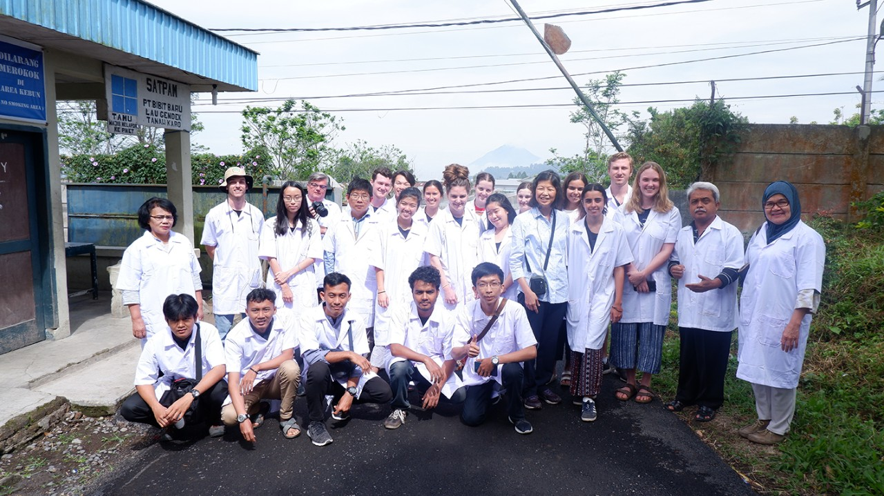 Oscar poses with students from University of Sydney and University of Jakarta on an Indonesian field trip