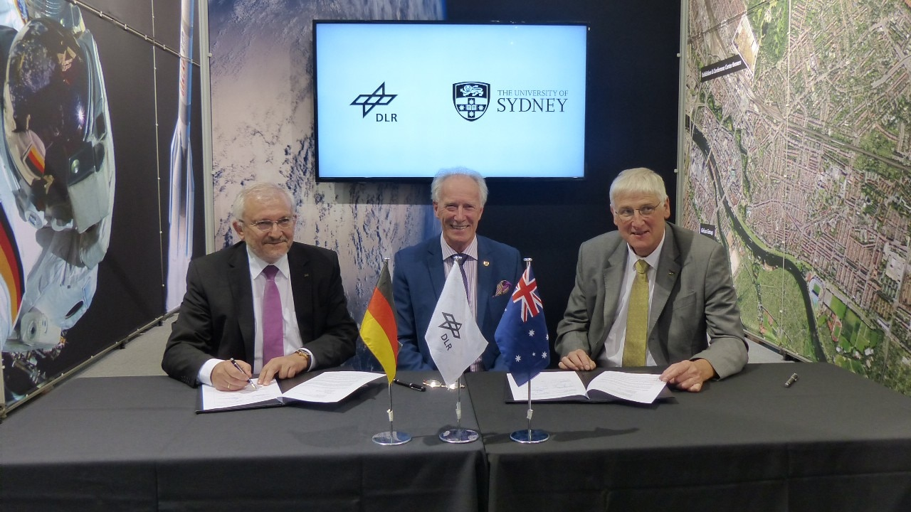 The MOU was signed by Dean of the Faculty of Engineering and Information Technologies Professor Archie Johnston, DLR Executive Board Member for Space Research and Technology Professor Hansjörg Dittus and DLR Space Research and Technology Program Director Dr Hubert Reile. Image courtesy: DLR.