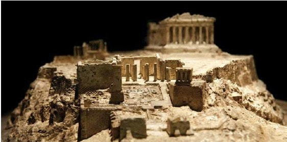 Plaster model of the Acropolis on display in the Nicholson Museum.