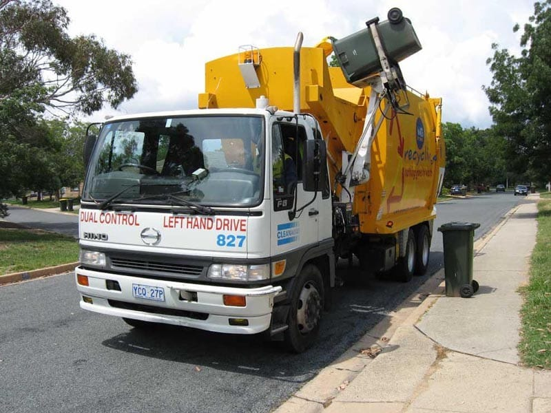 A waste truck in Canberra