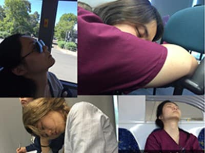 photograph of students sleeping in funny places