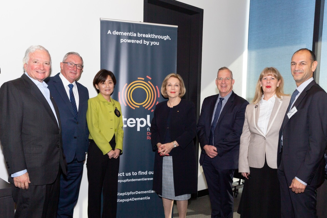 L-R: Former NSW Premier Nick Greiner, NSW Minister for Heath Brad Hazzard, Professor Yun-Hee Jeon, Ita Buttrose, Dr Michael Spence, Professor Donna Waters, Head of School and Dean of Sydney Nursing School, and David Khedoori