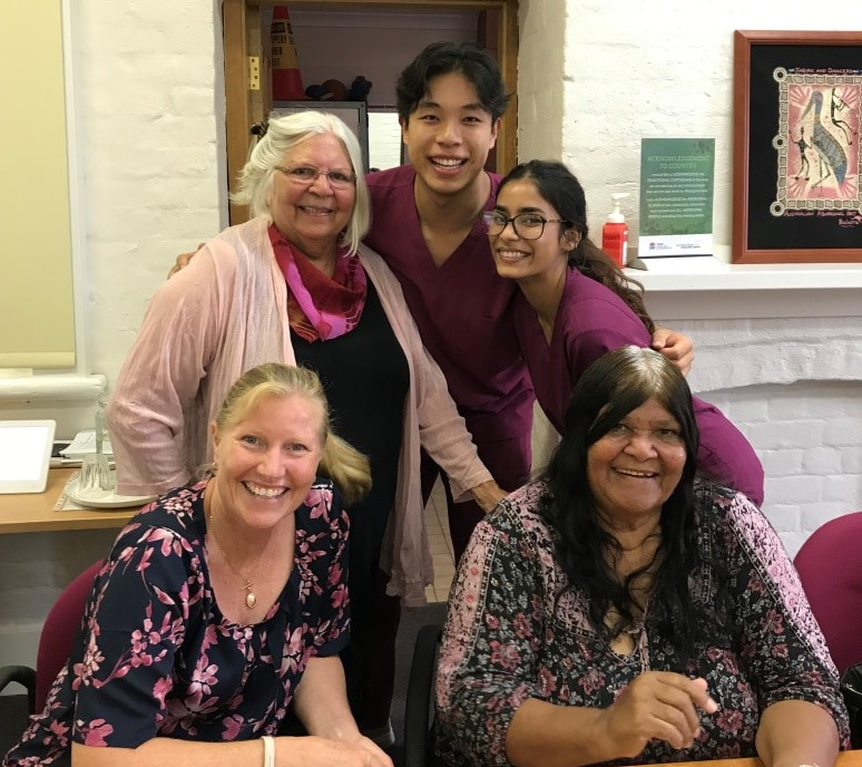 Ricky Zhang and Amreen Khan following their cultural training with Dr Cathryn Forsyth, Aunty Olga and Aunty June.