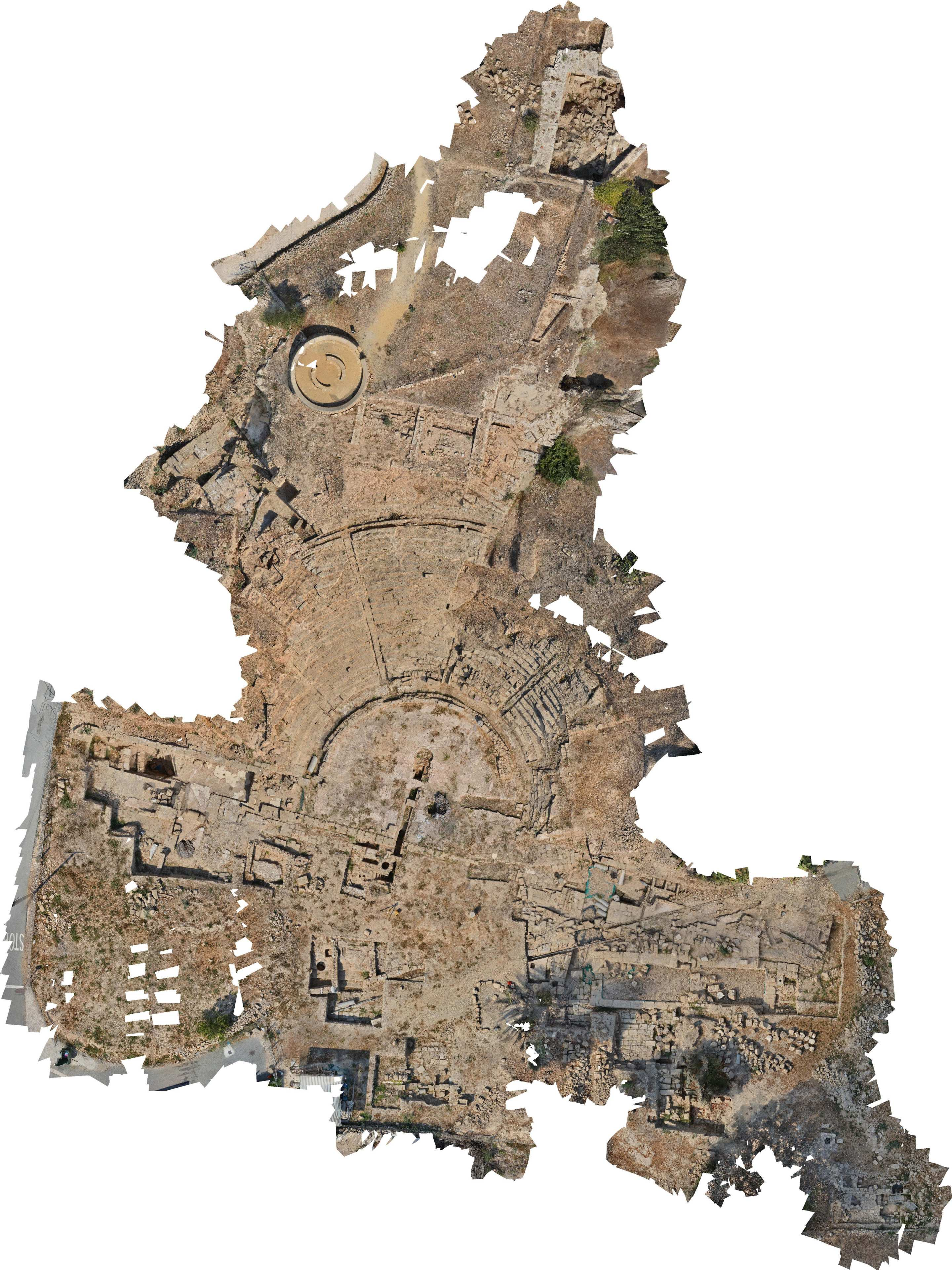 This image, using photogrammetric technology, captures the surviving remains of the ancient theatre in Neo Paphos.