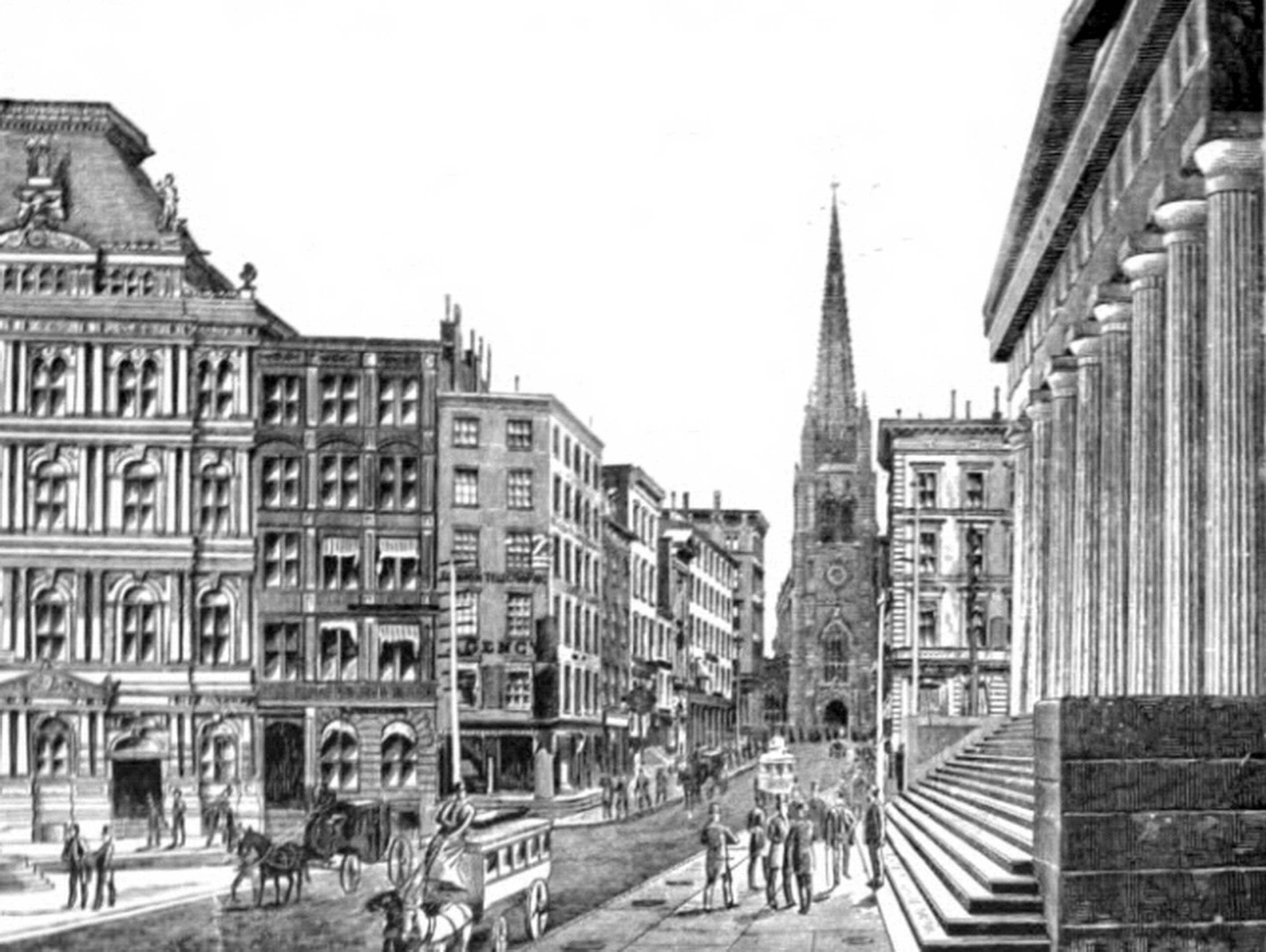 Wall Street in 1880s. Image: Wikimedia Commons.
