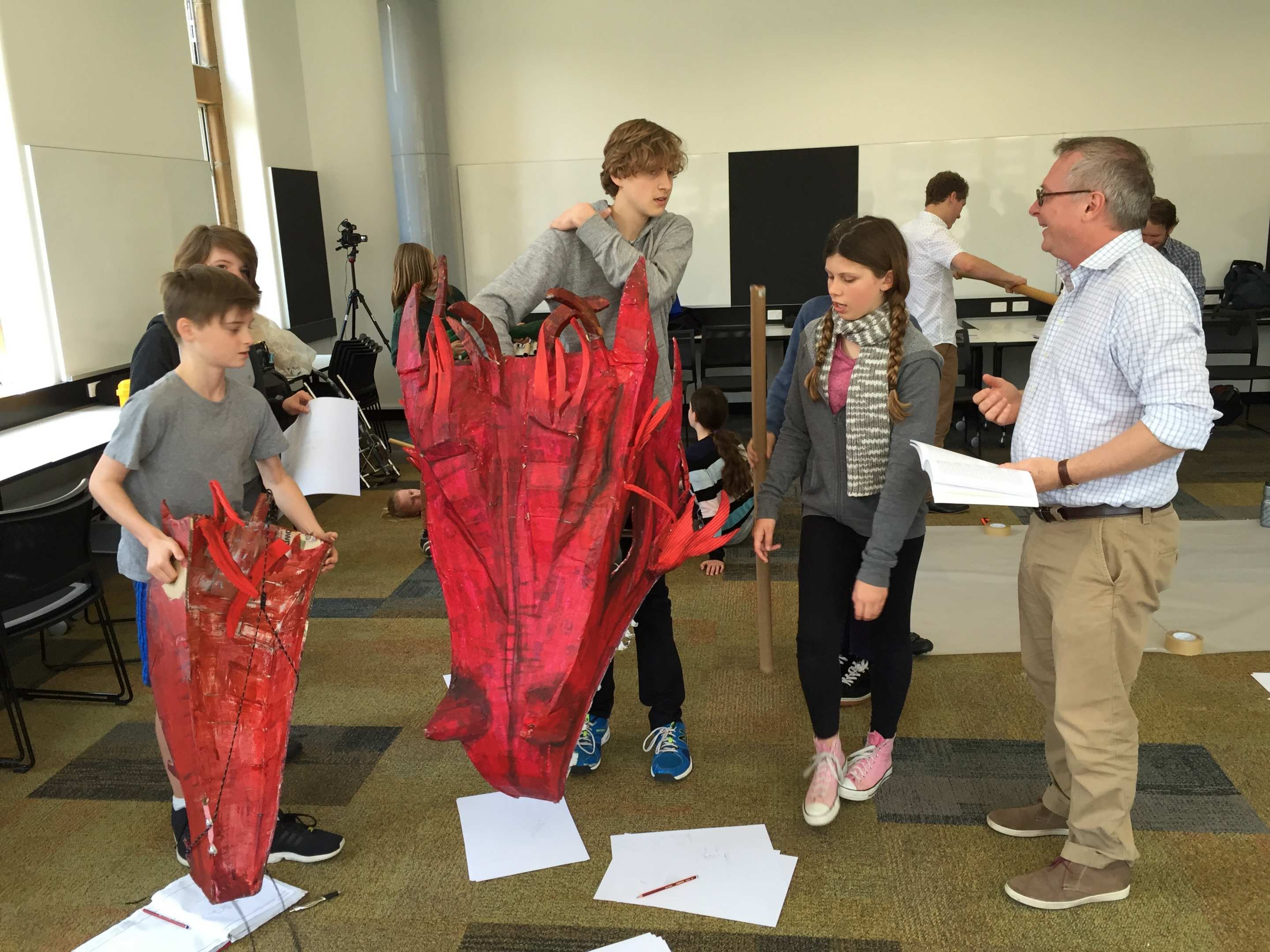 Students prepare a puppet dragon at the Beowulf workshop at the University of Sydney. Photo: David Cameron.