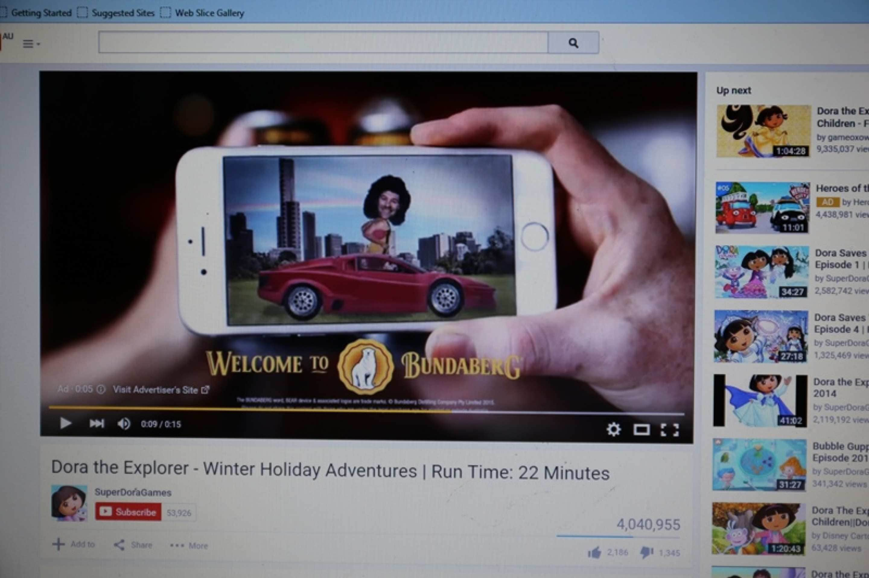 A screenshot of Youtube alcohol advertising