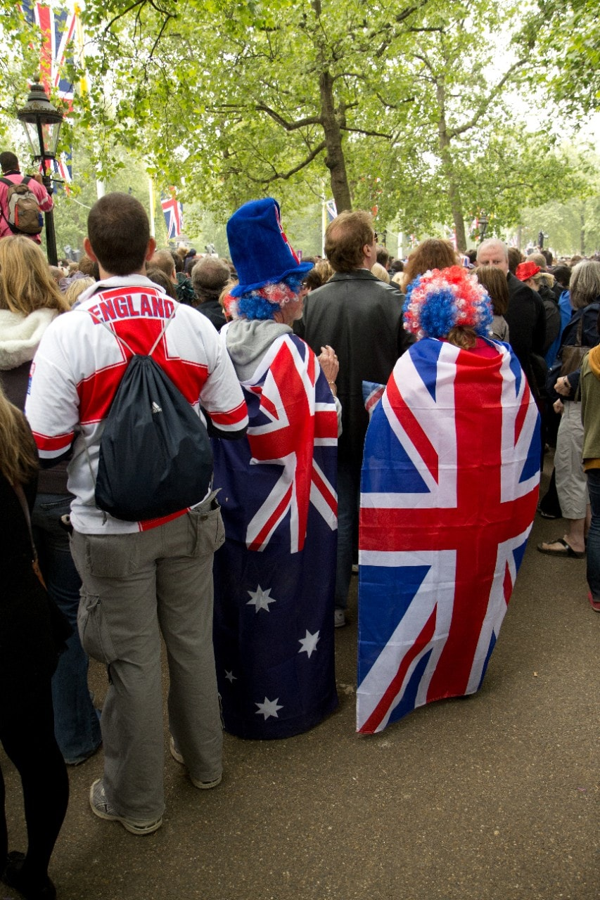 Crowd at the wedding of Prince William of Wales and Kate Middleton