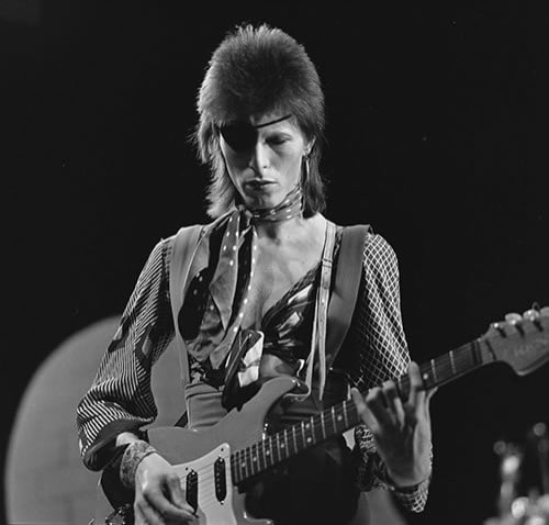 David Bowie, shooting his video for Rebel Rebel in 1974
