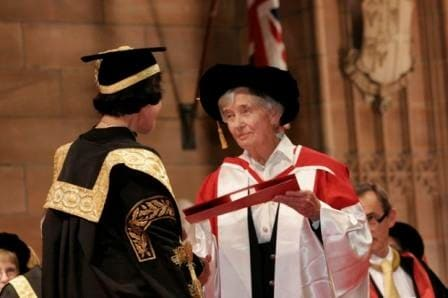Photo of The Chancellor Her Excellency Professor Marie Bashir AC CVO (left) conferring the honorary degree upon Emeritus Professor Dame Leonie Kramer AC DBE (right), photo, copyright Memento Photography.