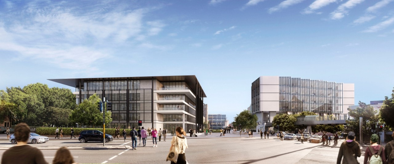 Image of the University of Sydney's proposed Administration Building and LEES1 building.