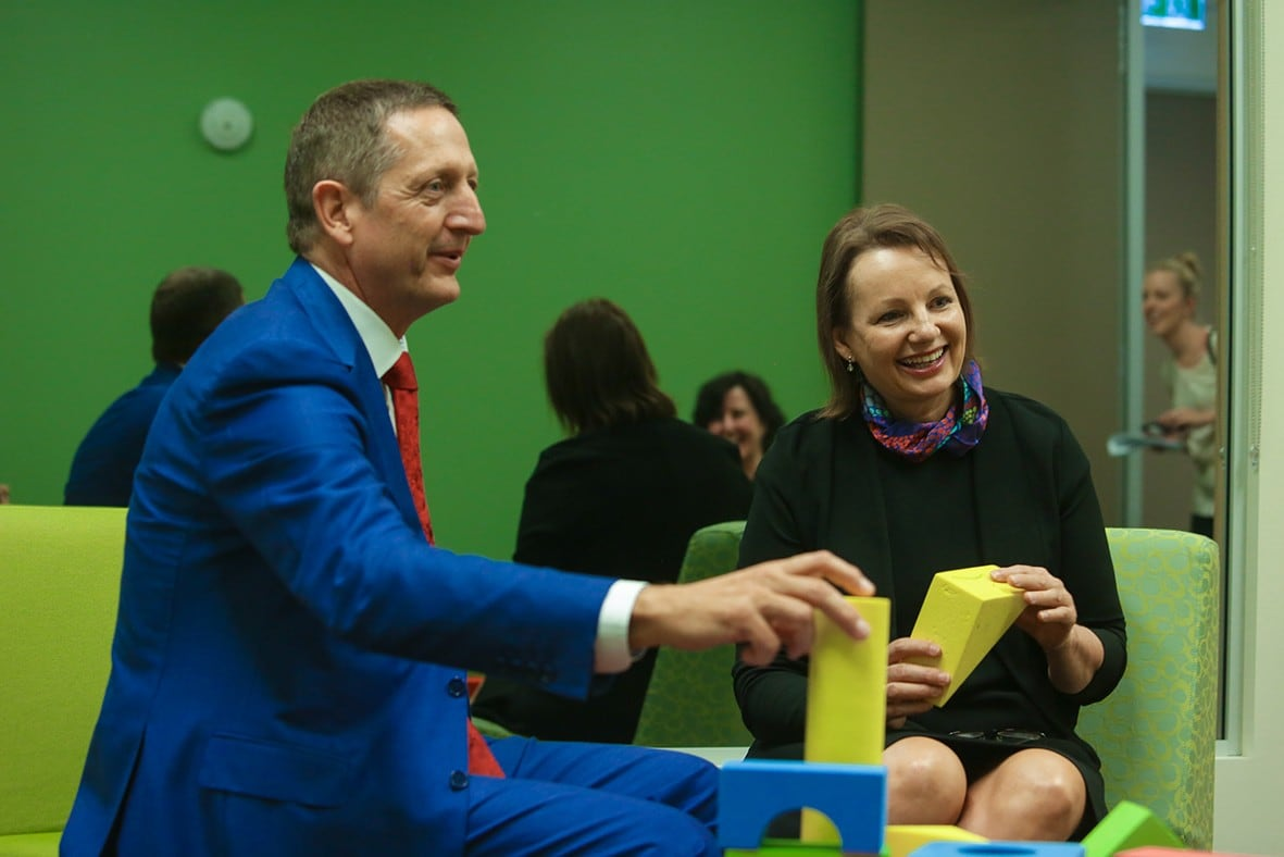 Ian Hickie, co-director of the Brain and Mind Centre talks with Sussan Ley