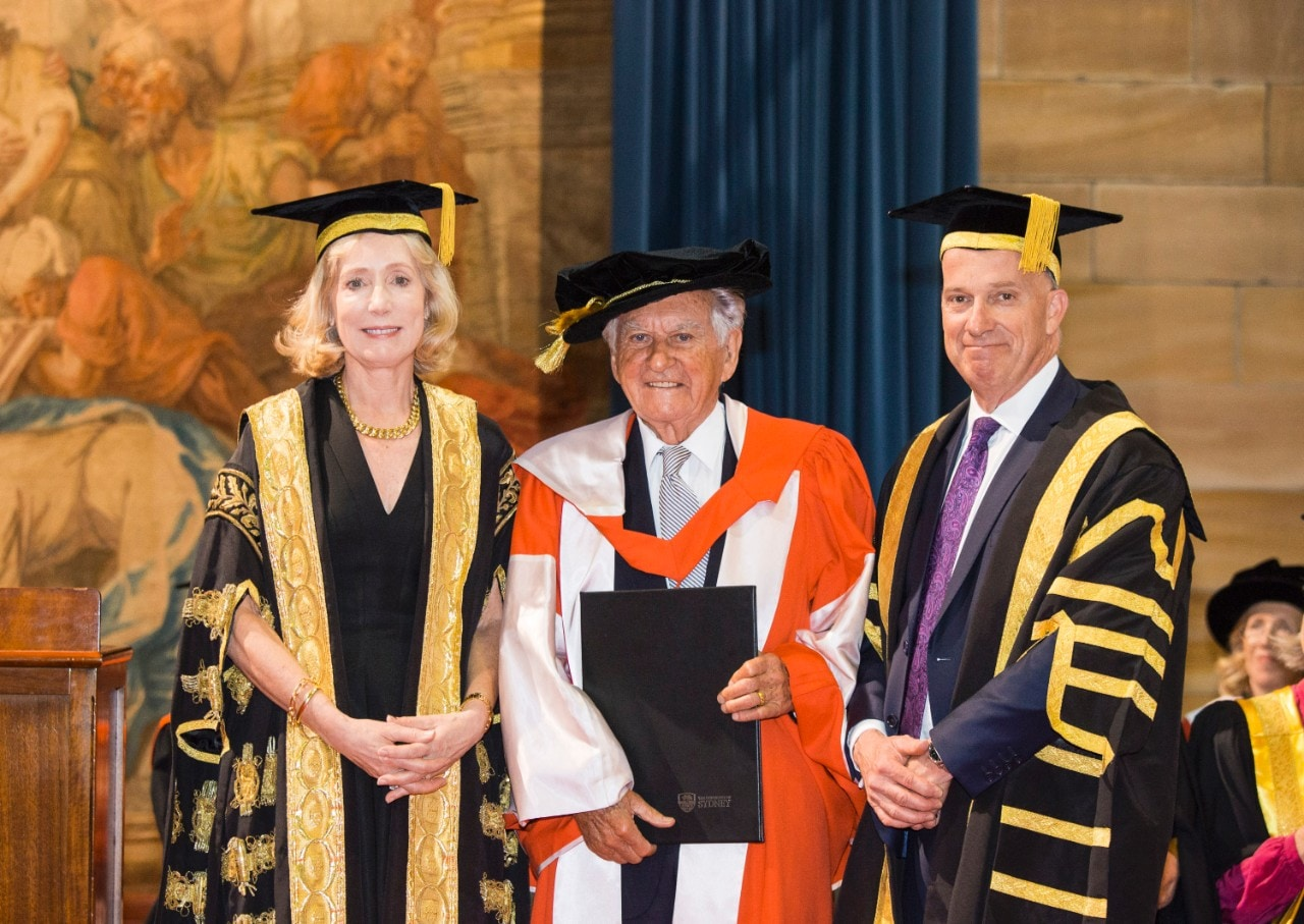 The Chancellor Belinda Hutchinson, former PM Bob Hawke and Vice-Chancellor Michael Spence.