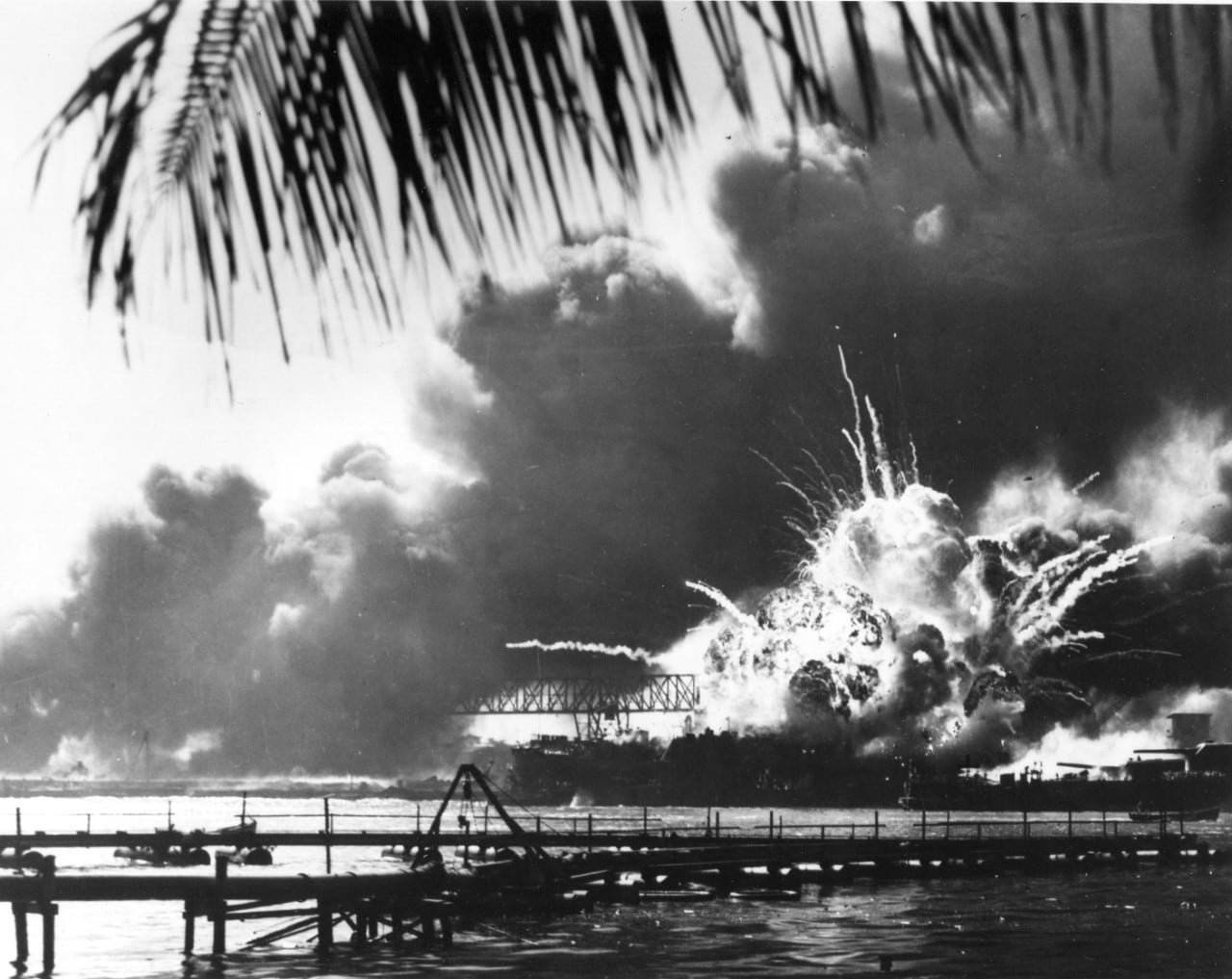 US Shaw exploding at Pearl Harbor