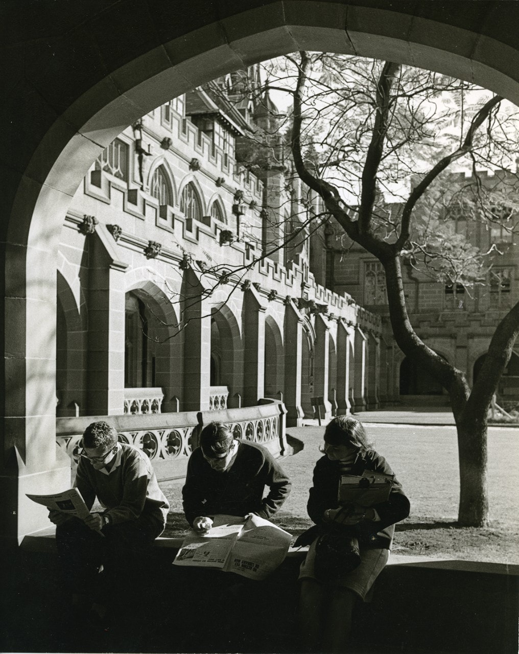 View from southern cloisters into the Quadrangle, 1966,