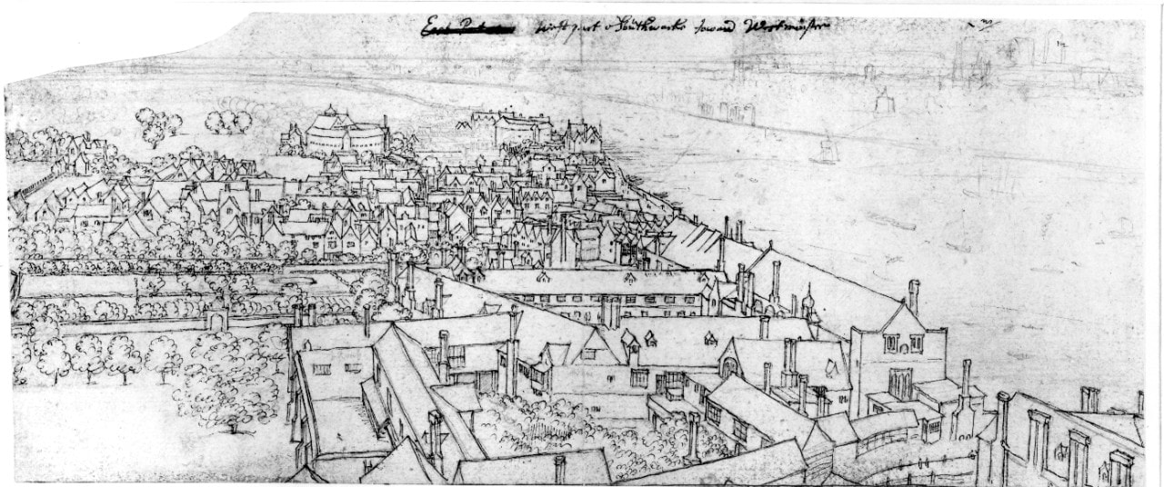 Wenceslaus Hollar's sketch of the view from St Mary's, Southwark, looking towards Westminister. Image: courtesy Tim Fitzpatrick.