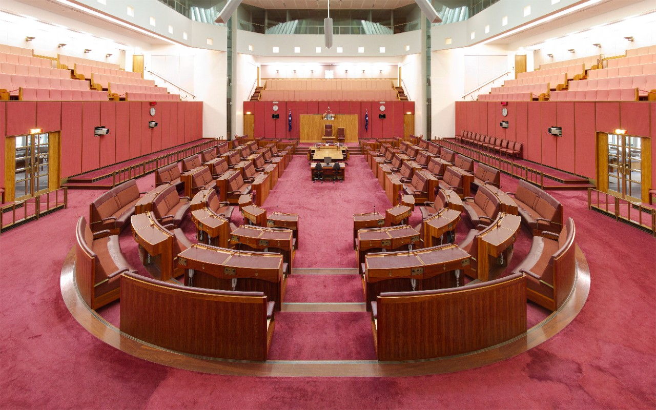 The chamber of the Australian Senate at Parliament House, Canberra. Image: Wikimedia