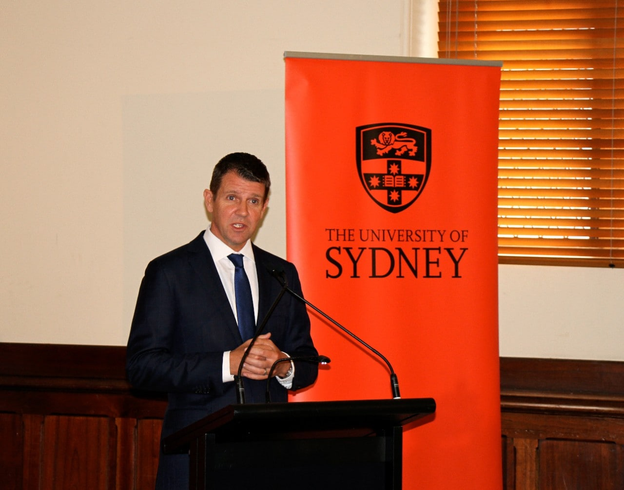 NSW Premier Mike Baird at the University of Sydney