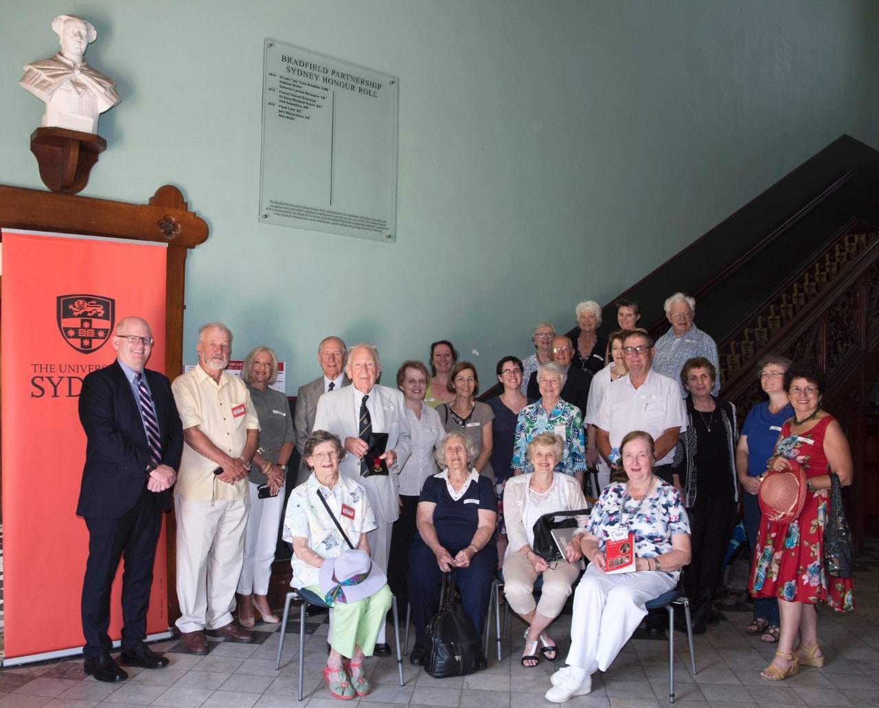More than 25 descendants of Mary Reibey visiting the Sydney Honour Roll featuring her name at the University of Sydney.