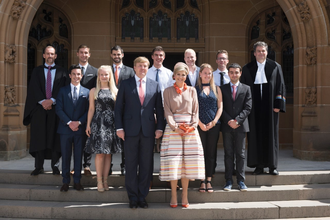 His Majesty King Willem-Alexander and Her Majesty Queen Máxima of The Netherlands with Professor Professor Frans Verstraten (University of Sydney) and Prof Marc in Het Panhuis (University of Wollongong) and students from the University of Sydney, UNSW and University of Wollongong.