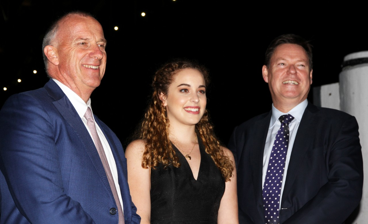 Dr Michael Spence, Vice Chancellor of the University of Sydney (left) and Steve McCann, Managing Director and CEO of Lendlease (right) with Kate Zambelli, 2016 Lendlease Bradfield Urbanisation Scholarship recipient (centre).