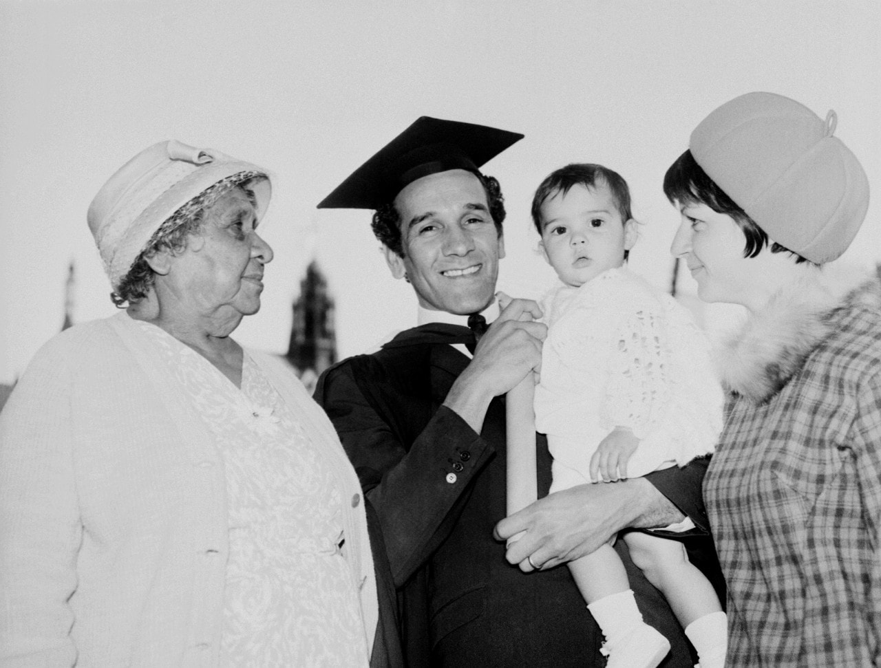A photo of Charles Perkins and his family on his graduation day, May 1966.